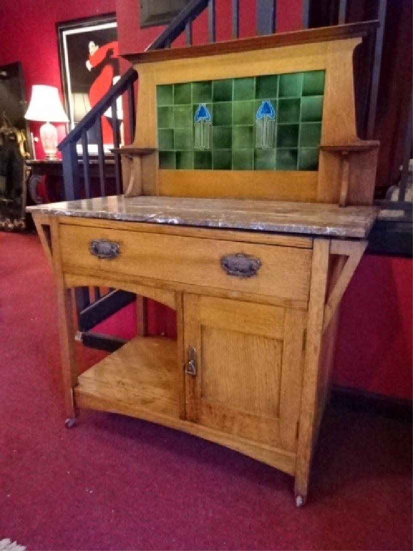 ANTIQUE OAK BUFFET, STAINED GLASS HUTCH TOP, 2 DRAWERS,