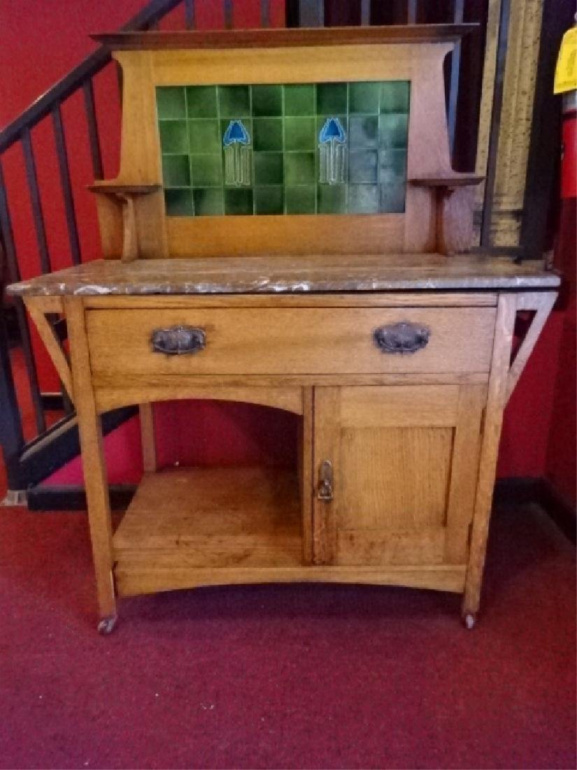 ANTIQUE OAK BUFFET, STAINED GLASS HUTCH TOP, 2 DRAWERS, - 2