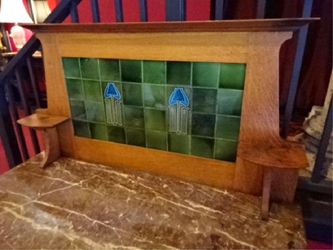 ANTIQUE OAK BUFFET, STAINED GLASS HUTCH TOP, 2 DRAWERS, - 3