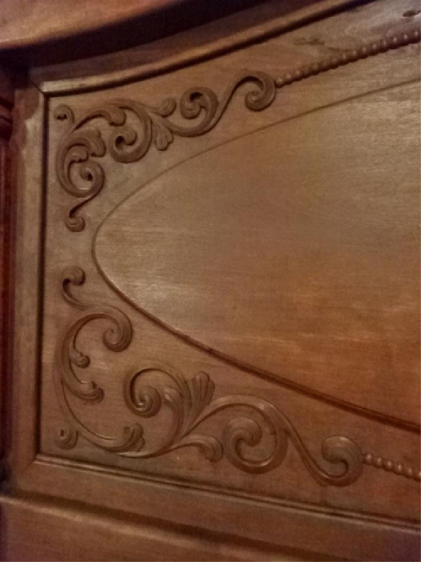 ANTIQUE CARVED WOOD QUEEN BED, CARVED RIBBONS AND - 4