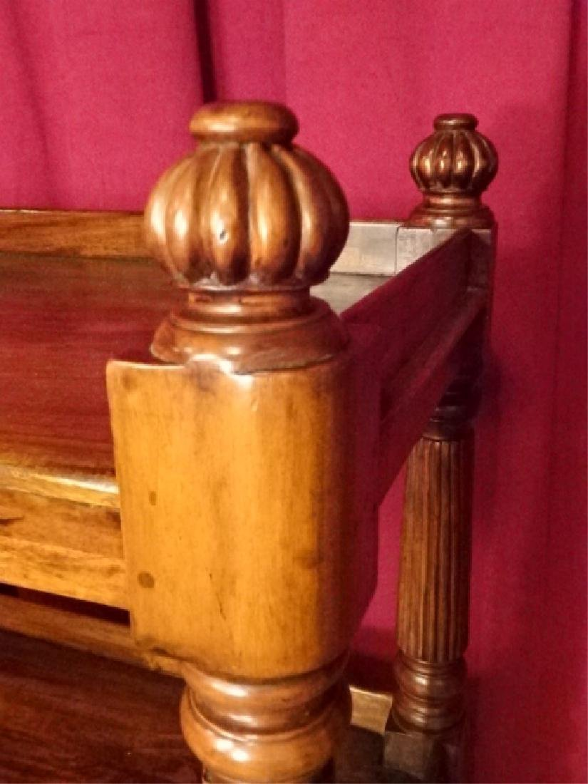 CARVED WOOD BOOKCASE ON CASTERS, MEDIUM FINISH, BRASS - 3
