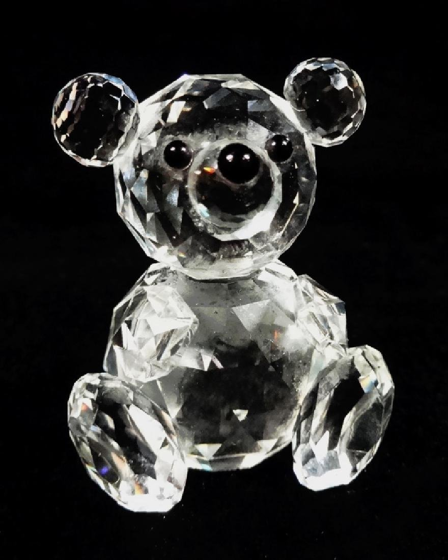 VINTAGE SWAROVSKI CRYSTAL BEAR, SEATED, WITH OLD BLOCK