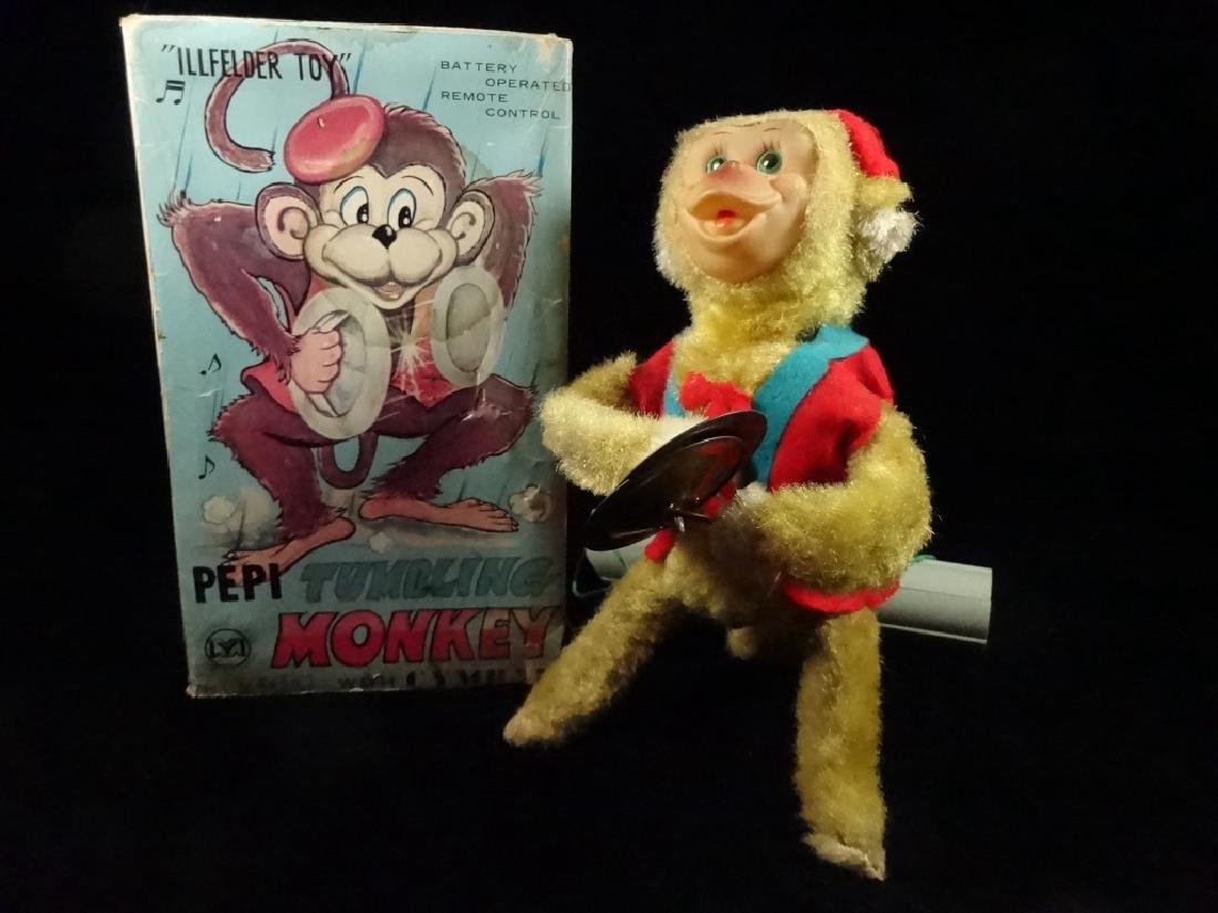 VINTAGE PEPI TUMBLING MONKEY TOY, BATTERY OPERATED, BY
