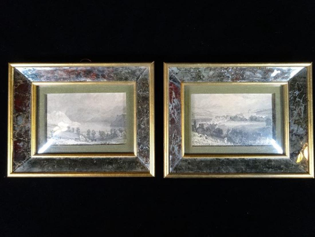 2 ANTIQUE ENGRAVINGS, LANDSCAPE SCENES IN ART GLASS