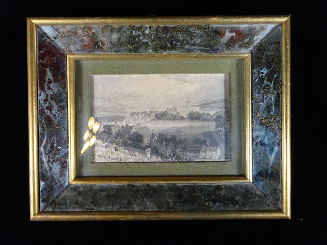 2 ANTIQUE ENGRAVINGS, LANDSCAPE SCENES IN ART GLASS - 2
