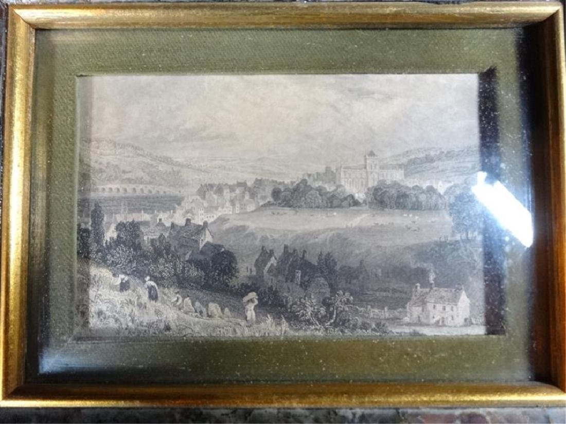 2 ANTIQUE ENGRAVINGS, LANDSCAPE SCENES IN ART GLASS - 4