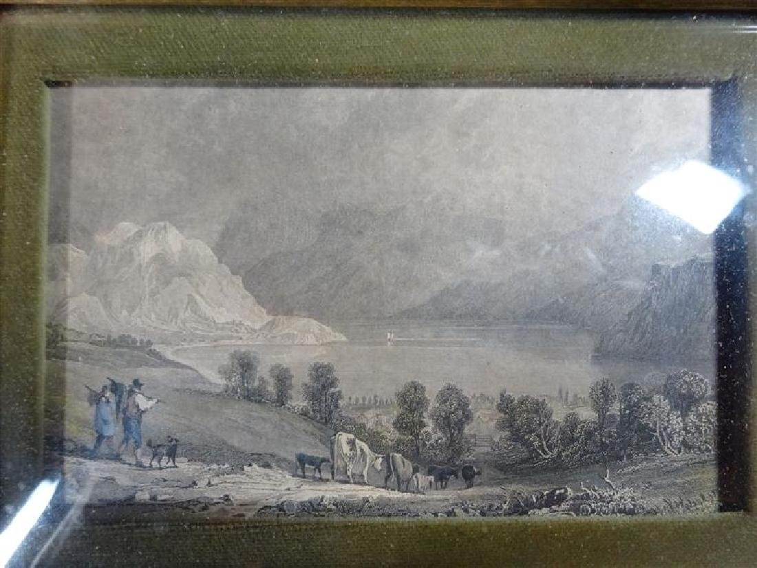 2 ANTIQUE ENGRAVINGS, LANDSCAPE SCENES IN ART GLASS - 5