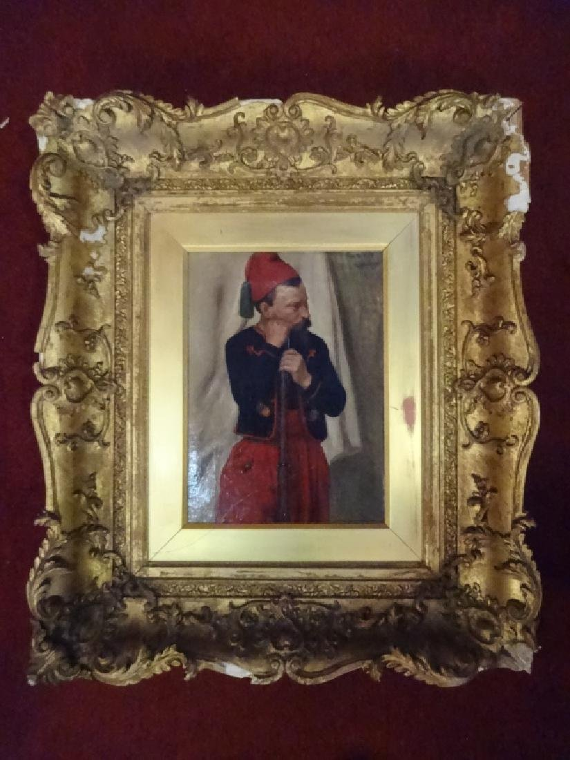 W. WISE SIGNED OIL ON CANVAS PAINTING, MAN IN RED FEZ,