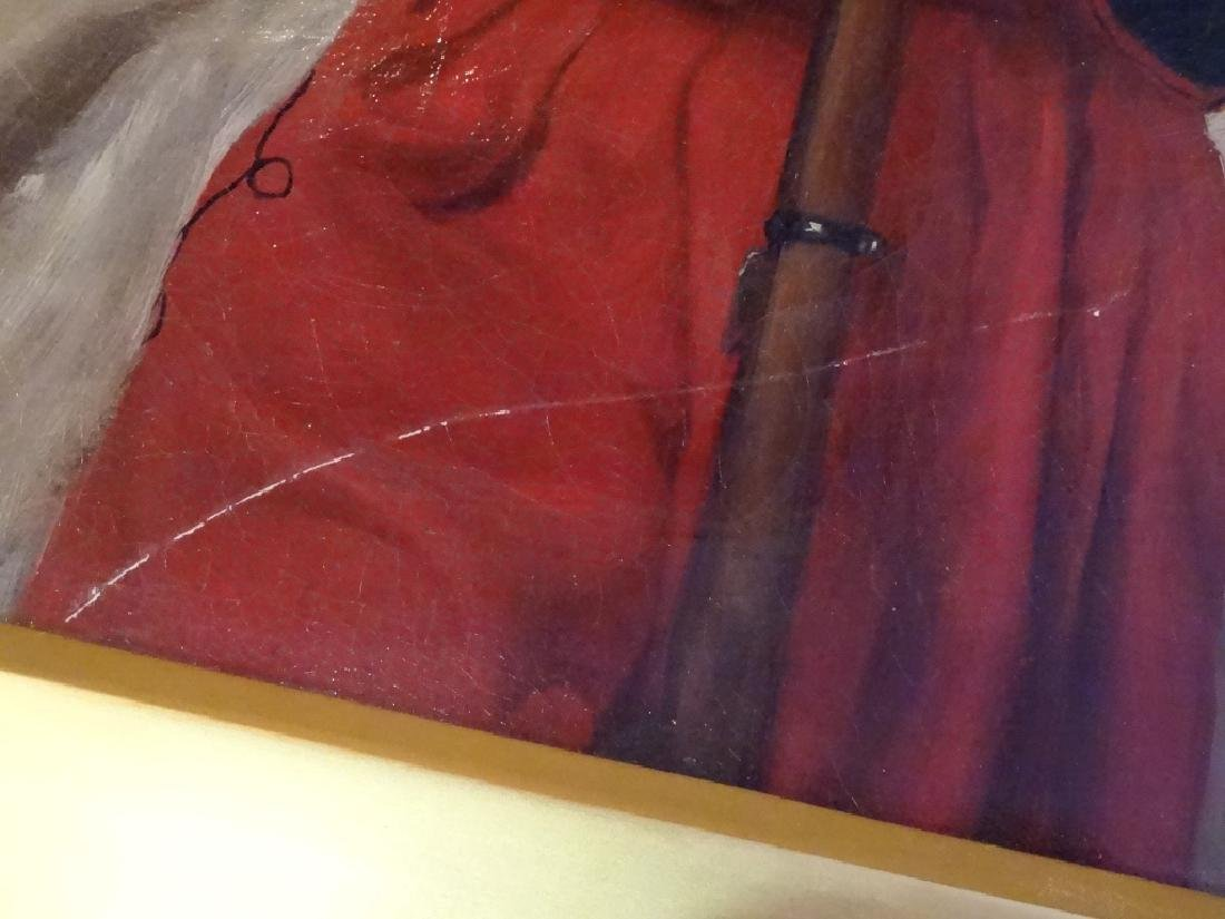W. WISE SIGNED OIL ON CANVAS PAINTING, MAN IN RED FEZ, - 5