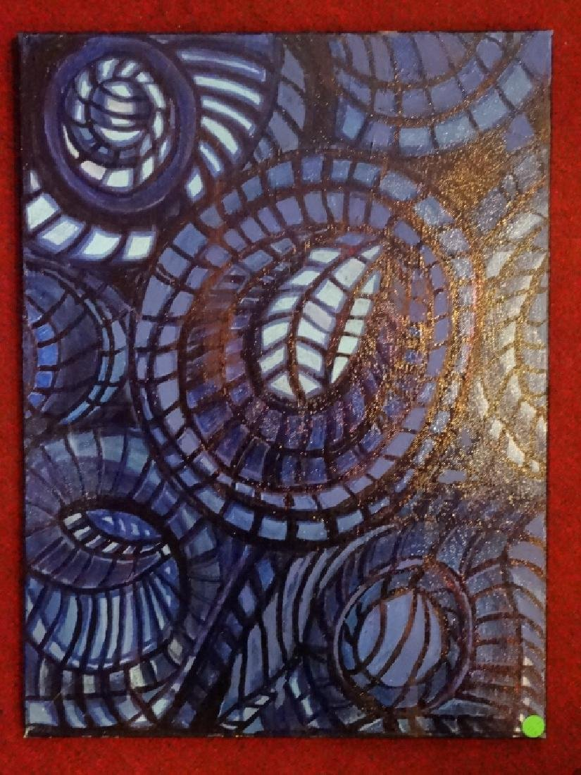 ABSTRACT PAINTING ON CANVAS, BLUE AND BLACK CIRCULAR