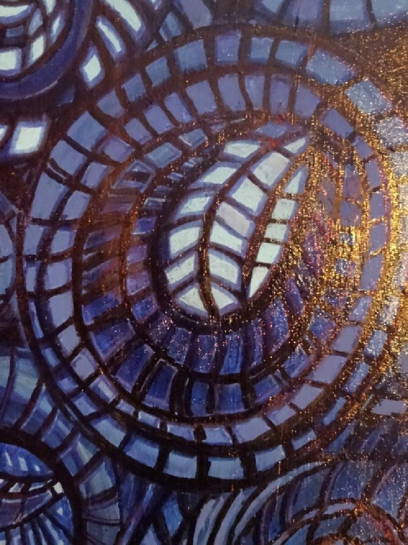 ABSTRACT PAINTING ON CANVAS, BLUE AND BLACK CIRCULAR - 2