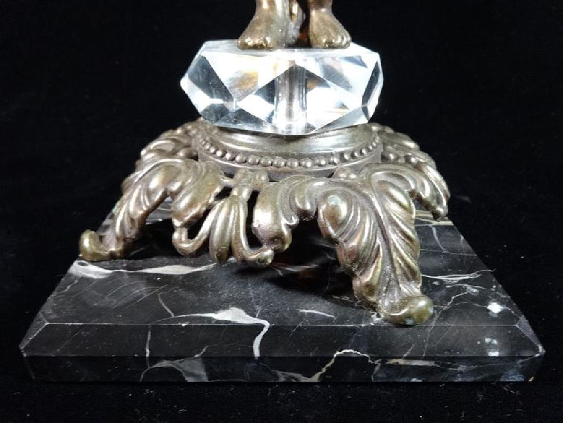 FIGURAL GLASS AND METAL PEDESTAL BOWL, ON SQUARE MARBLE - 2