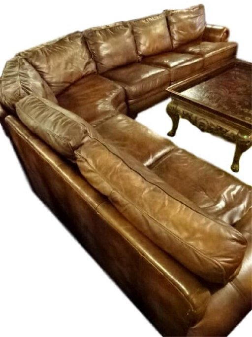 4 PC BROWN LEATHER SECTIONAL SOFA WITH NAILHEAD TRIM,