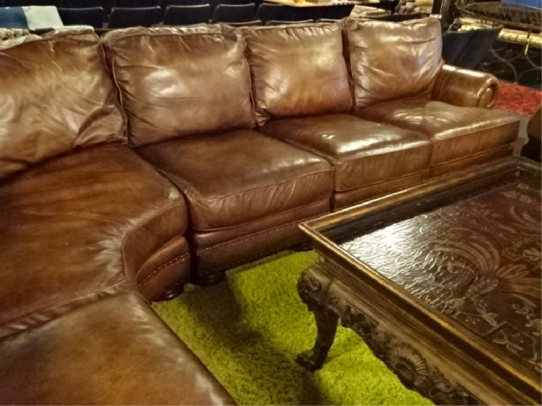 4 PC BROWN LEATHER SECTIONAL SOFA WITH NAILHEAD TRIM, - 3