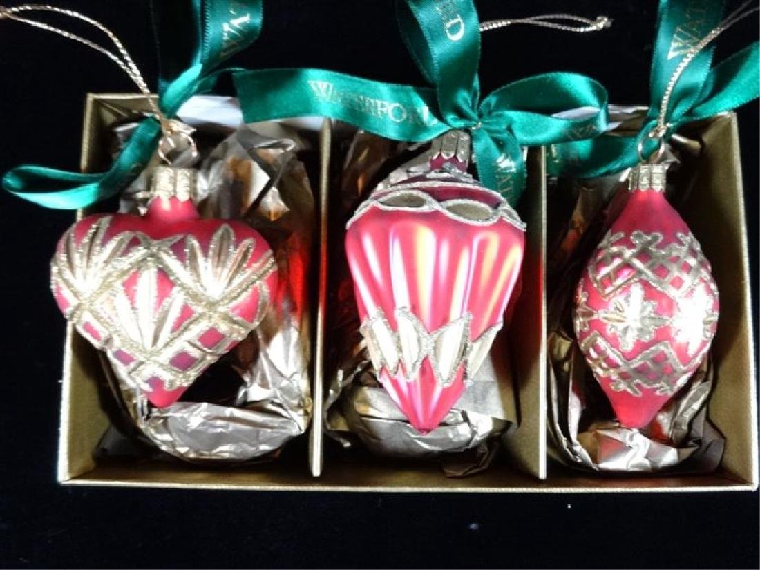 3 WATERFORD GLASS CHRISTMAS TREE ORNAMENTS, IN ORIGINAL