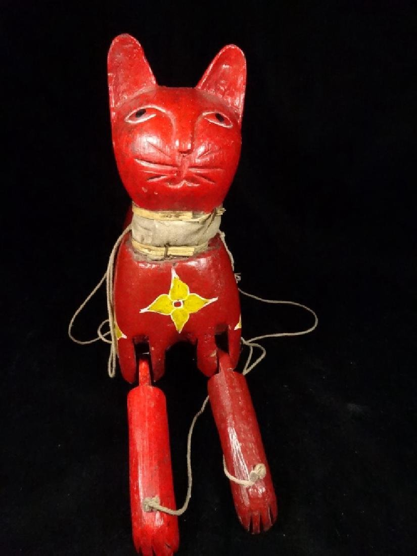 "WOODEN CAT PUPPET, PAINTED FINISH, APPROX 13.5"" X 11"""