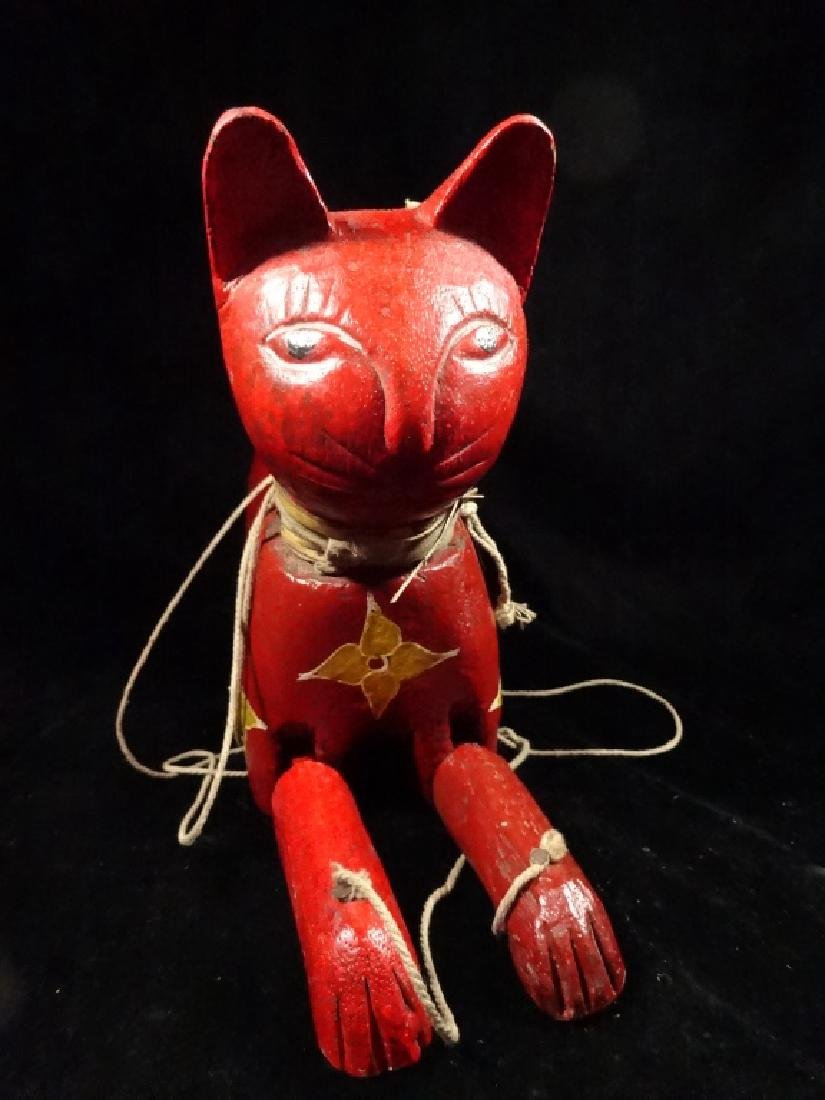 "WOODEN CAT PUPPET, PAINTED FINISH, APPROX 13.5"" X 11"" - 6"