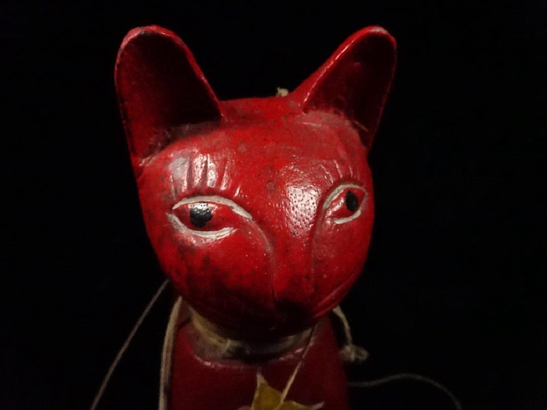 "WOODEN CAT PUPPET, PAINTED FINISH, APPROX 13.5"" X 11"" - 7"