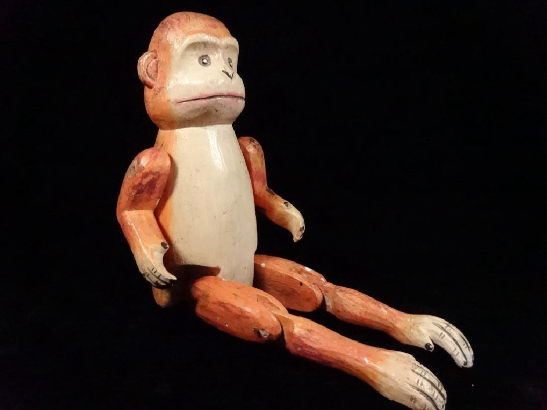 "WOODEN MONKEY PUPPET, PAINTED FINISH, APPROX 8.5""H"