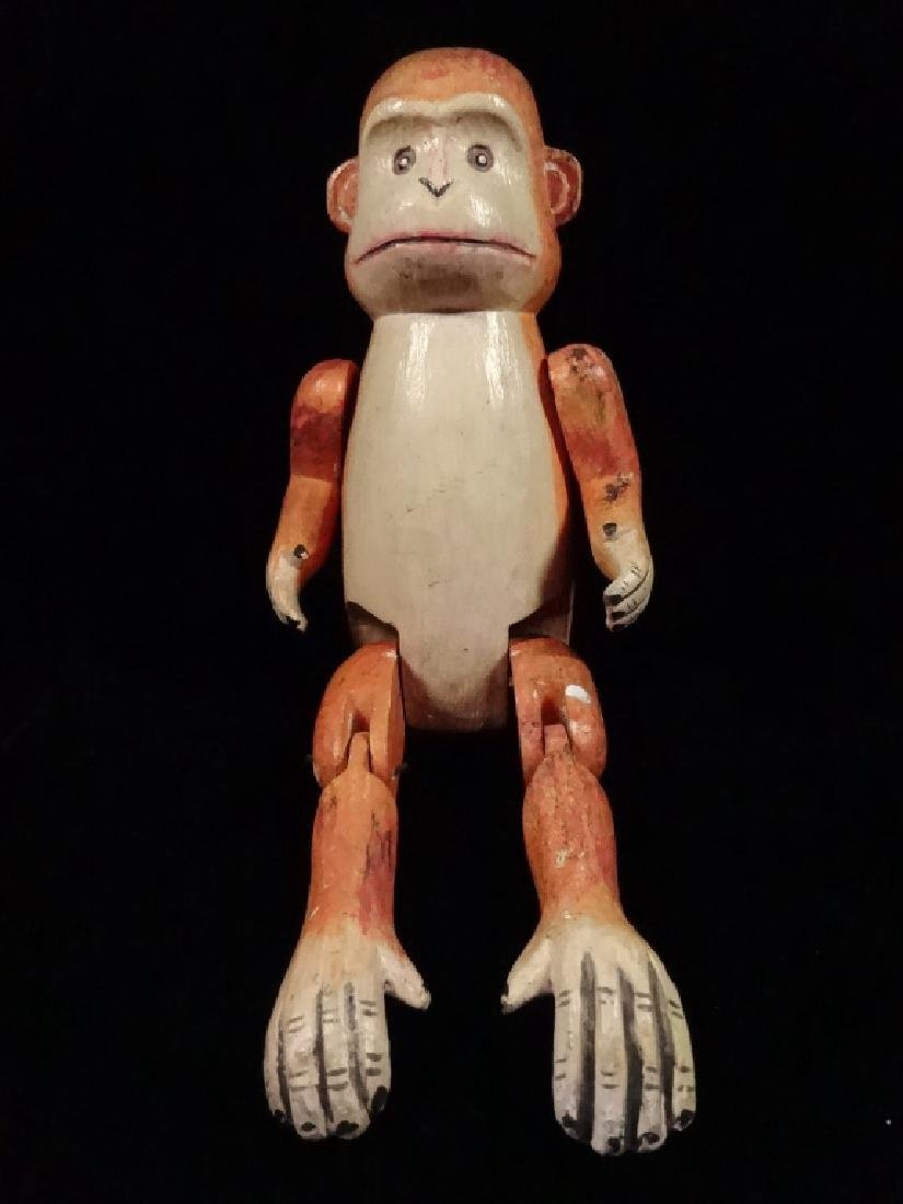 "WOODEN MONKEY PUPPET, PAINTED FINISH, APPROX 8.5""H - 2"