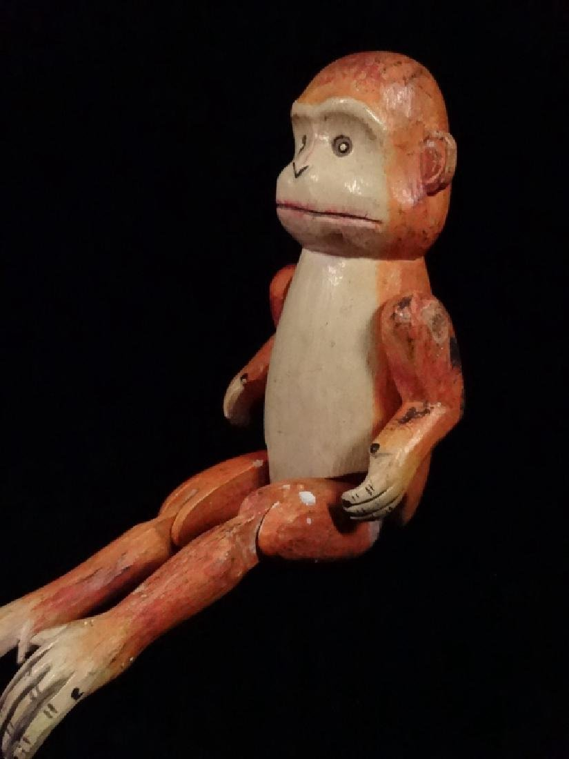 "WOODEN MONKEY PUPPET, PAINTED FINISH, APPROX 8.5""H - 4"