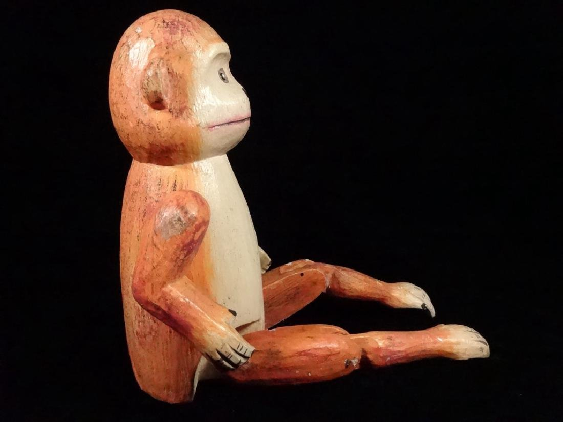 "WOODEN MONKEY PUPPET, PAINTED FINISH, APPROX 8.5""H - 6"