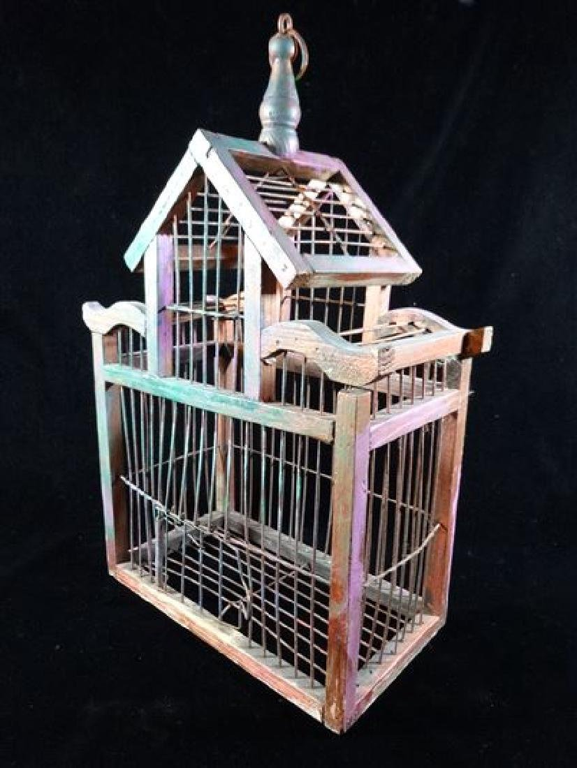 """SMALL WOOD BIRDCAGE, APPROX 10"""", SKU512.25 - 2"""