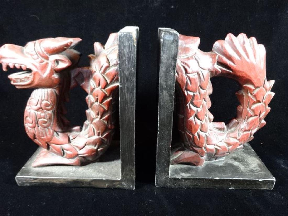 DRAGON CARVED WOOD BOOKENDS, PAINTED FINISH, VERY GOOD