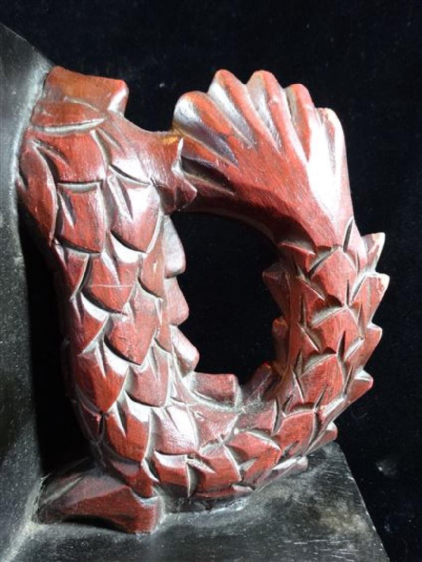 DRAGON CARVED WOOD BOOKENDS, PAINTED FINISH, VERY GOOD - 3