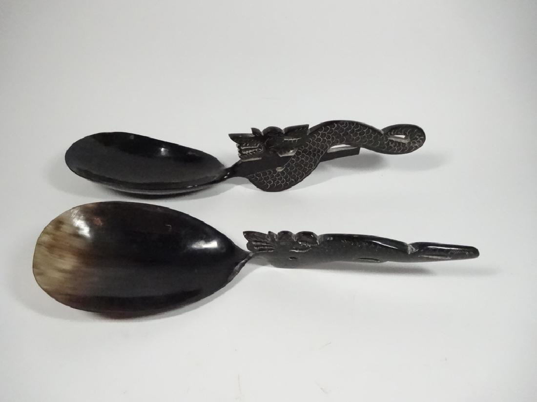 LARGE CHINESE HORN SERVING SPOONS, CARVED DRAGON - 2