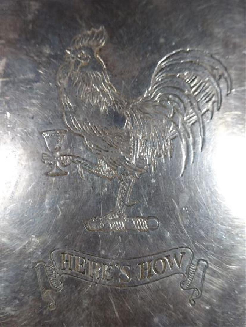 METAL LIQUOR FLASK WITH ETCHED ROOSTER DRINKING, - 2