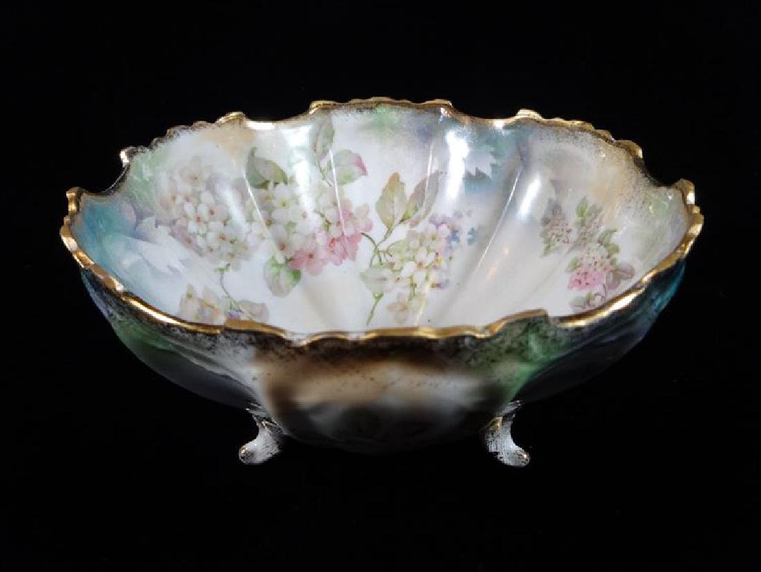 GERMAN PORCELAIN FOOTED BOWL, PAINTED FLORALS AND GILT