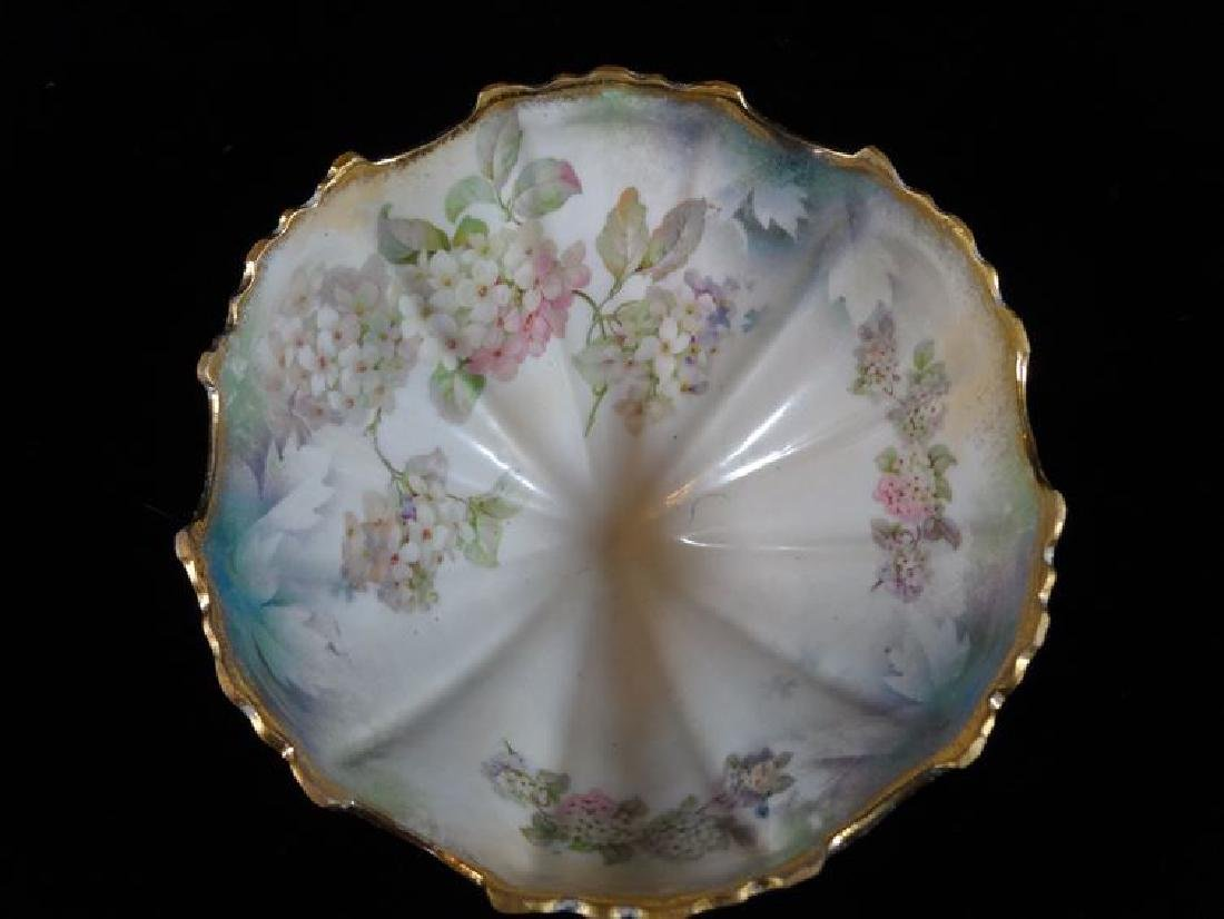 GERMAN PORCELAIN FOOTED BOWL, PAINTED FLORALS AND GILT - 3