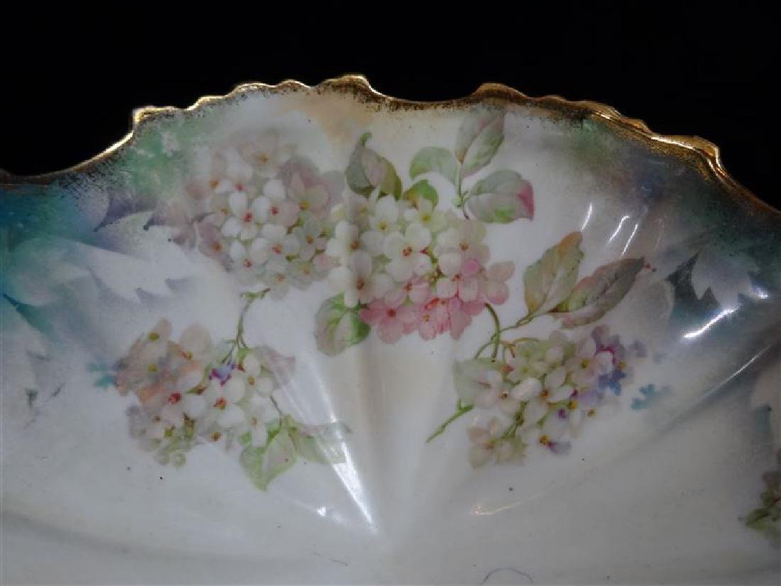 GERMAN PORCELAIN FOOTED BOWL, PAINTED FLORALS AND GILT - 4