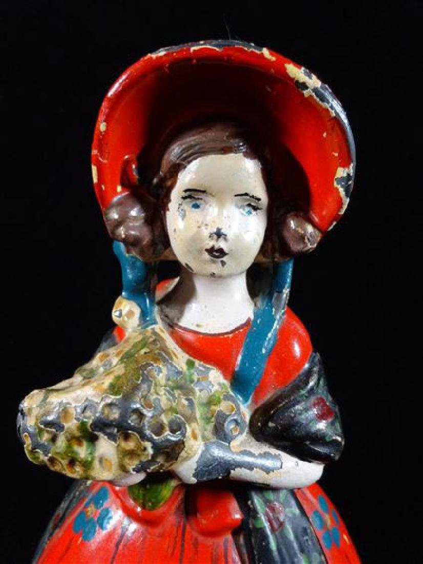 VINTAGE METAL WOMAN SCULPTURE IN RED BONNET, GOOD - 3