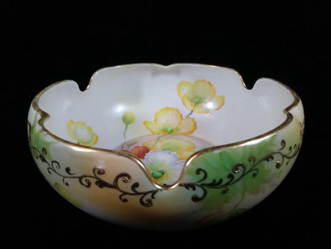 NIPPON HAND PAINTED PORCELAIN BOWL WITH FLORALS,, - 2