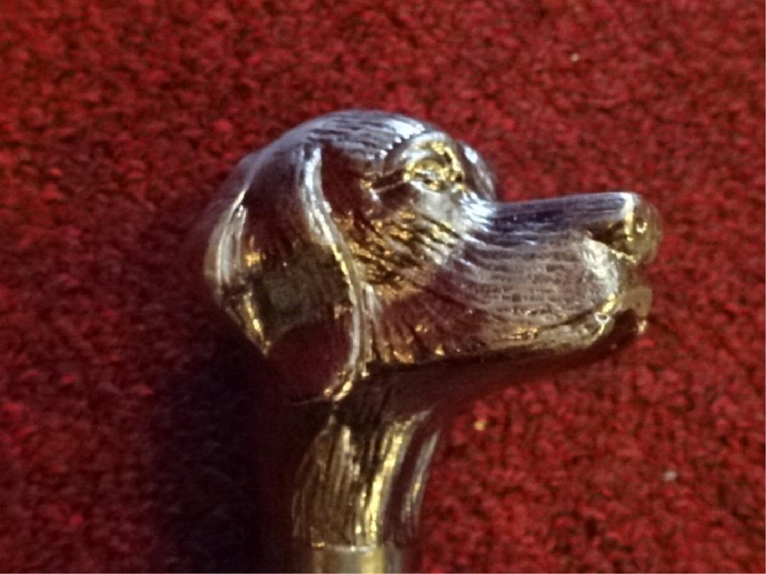 DOG HEAD SWORD CANE / WALKING STICK, METAL HANDLE - 4