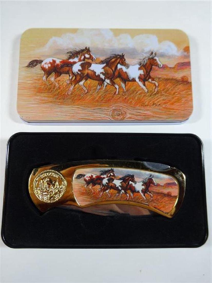 WILD HORSES FOLDING KNIFE IN CASE, VERY GOOD CONDITION,