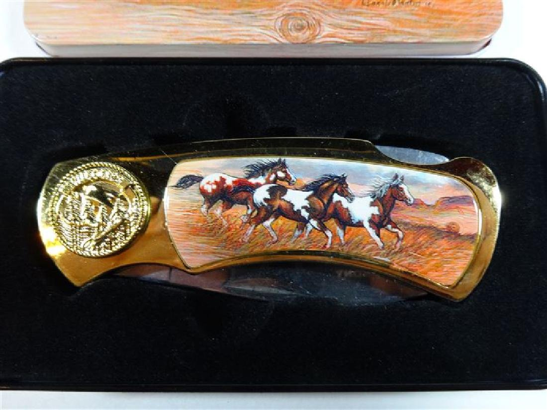 WILD HORSES FOLDING KNIFE IN CASE, VERY GOOD CONDITION, - 2