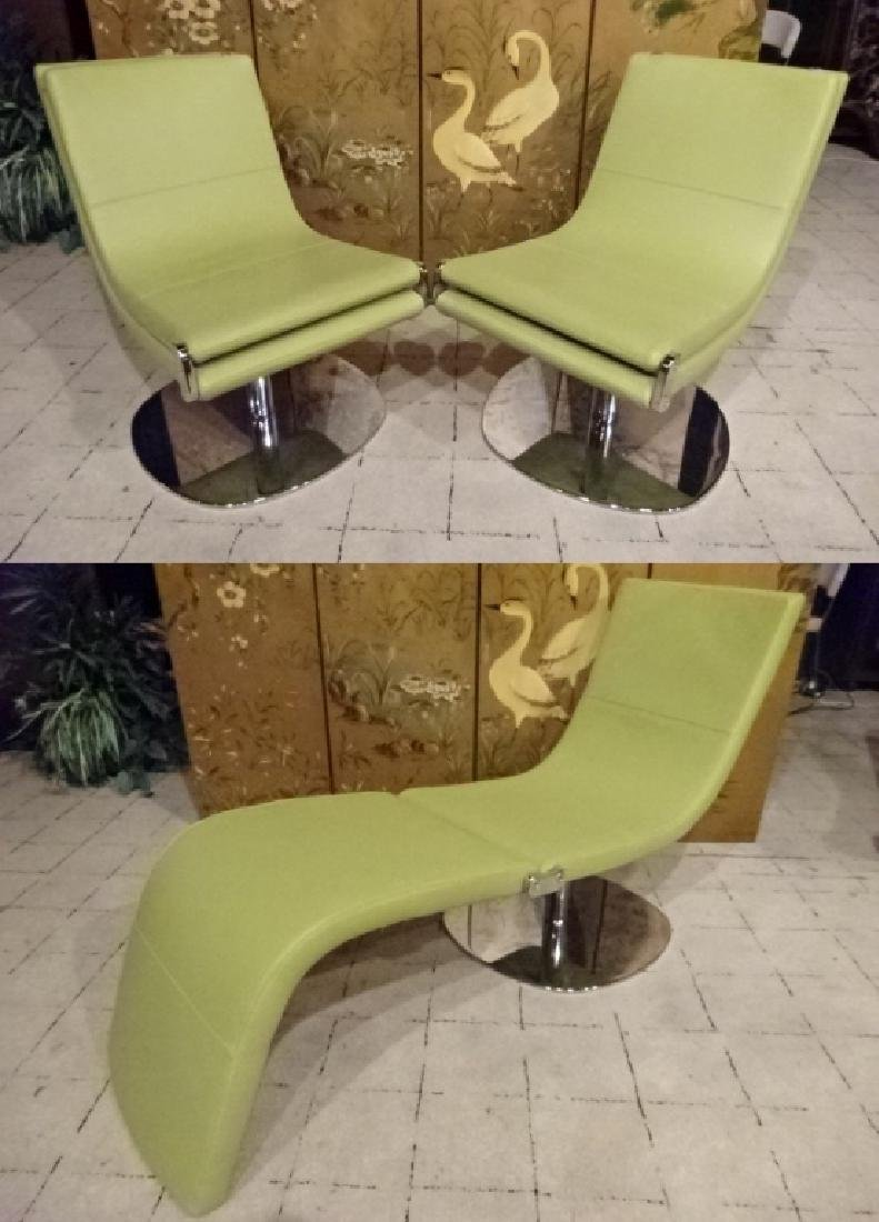 PAIR EXPANDABLE LEATHER LOUNGE CHAIRS, PISTACHIO