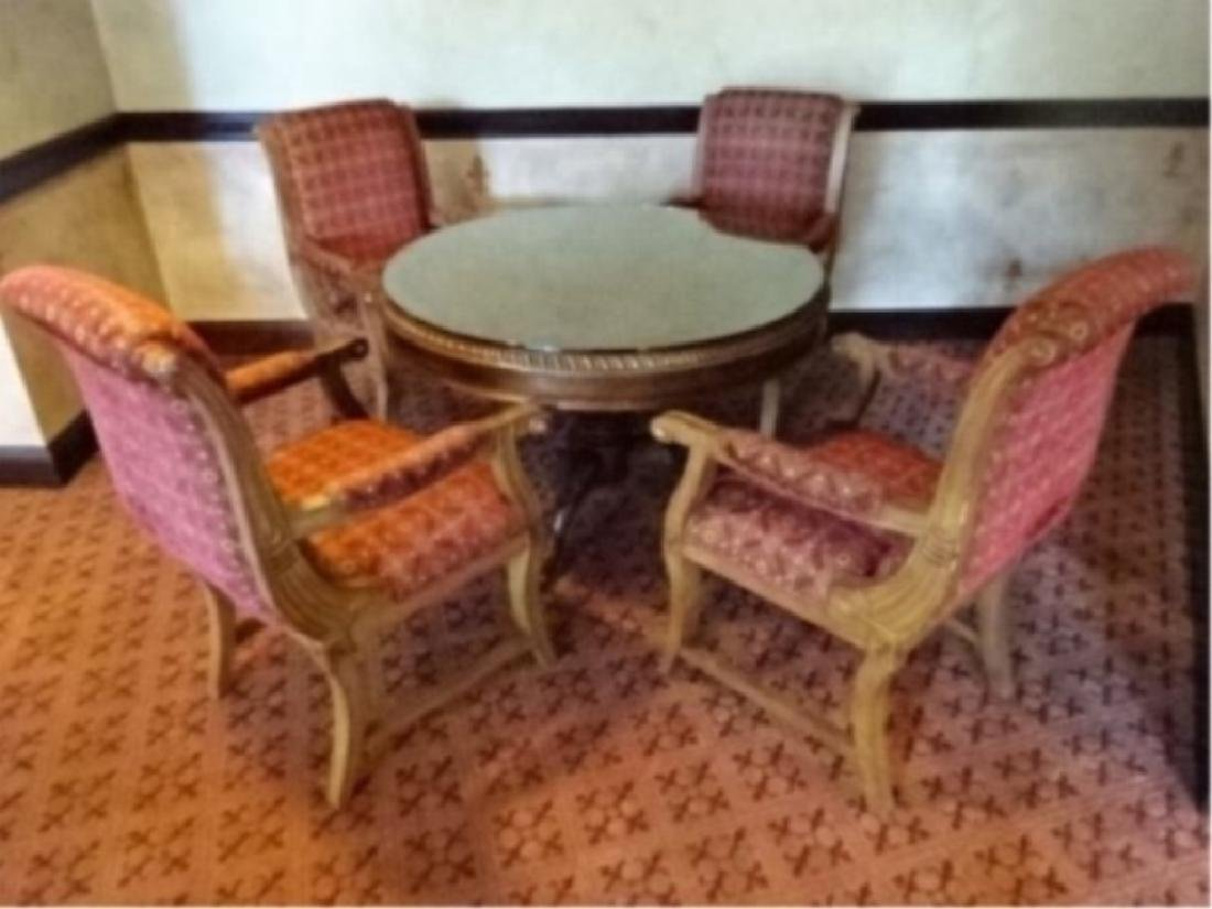 5 PC DINING OR GAME TABLE SET, ROUND GILT WOOD DINING