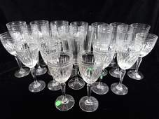 """22 PC CRYSTAL STEMWARE, MARKED """"M"""", TALLEST APPROX 7"""