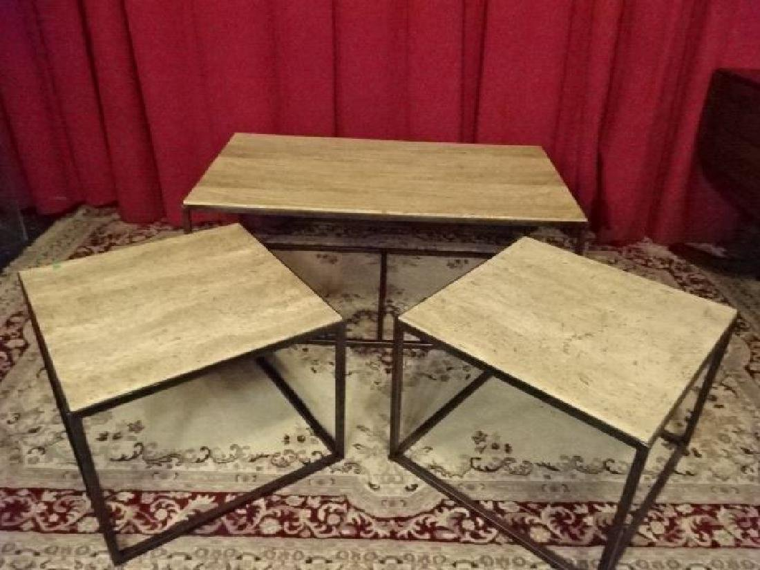 3 PC COFFEE AND PAIR END TABLES, TRAVERTINE STONE TOPS,