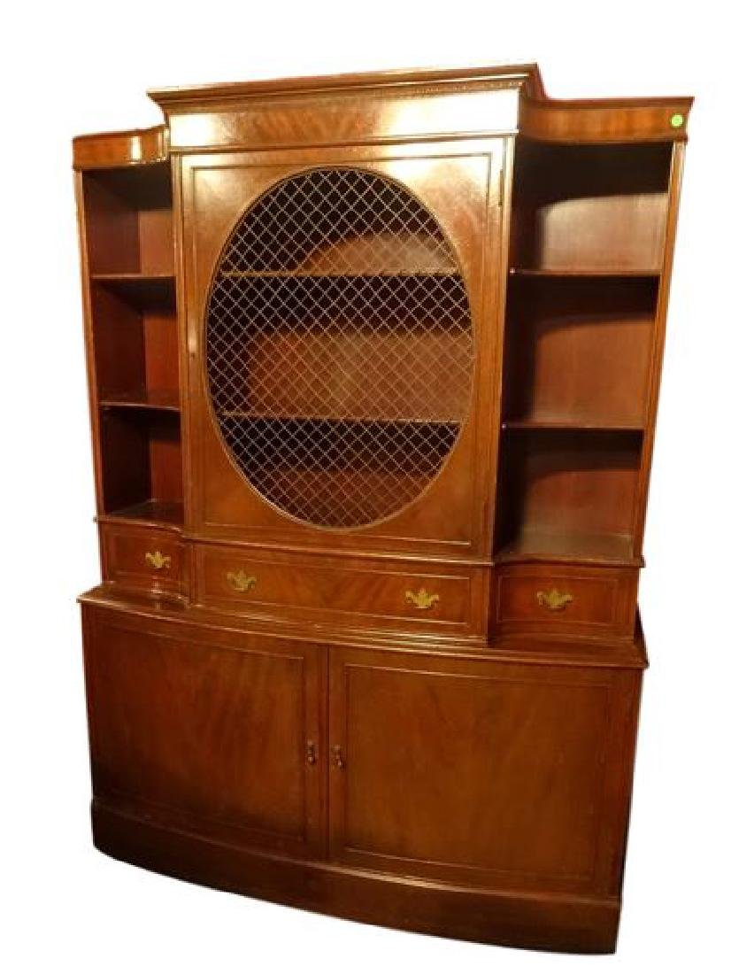 2 PC BOOKCASE / BIBLIOTHEQUE BREAKFRONT. CUT OUT