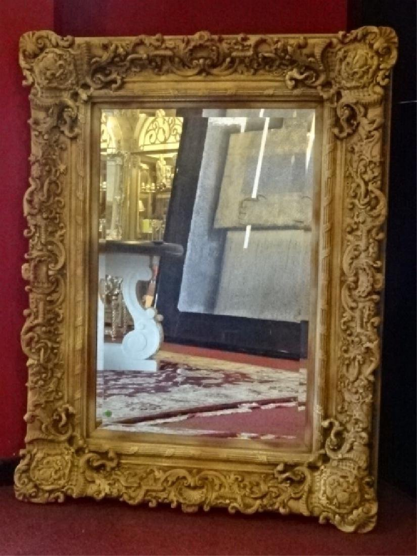 LARGE ROCOCO STYLE MIRROR, RECTANGULAR FRAME WITH FLEUR