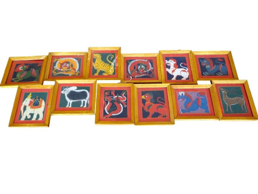 12 FRAMED ASIAN ANIMAL PRINTS, VERY GOOD CONDITION,
