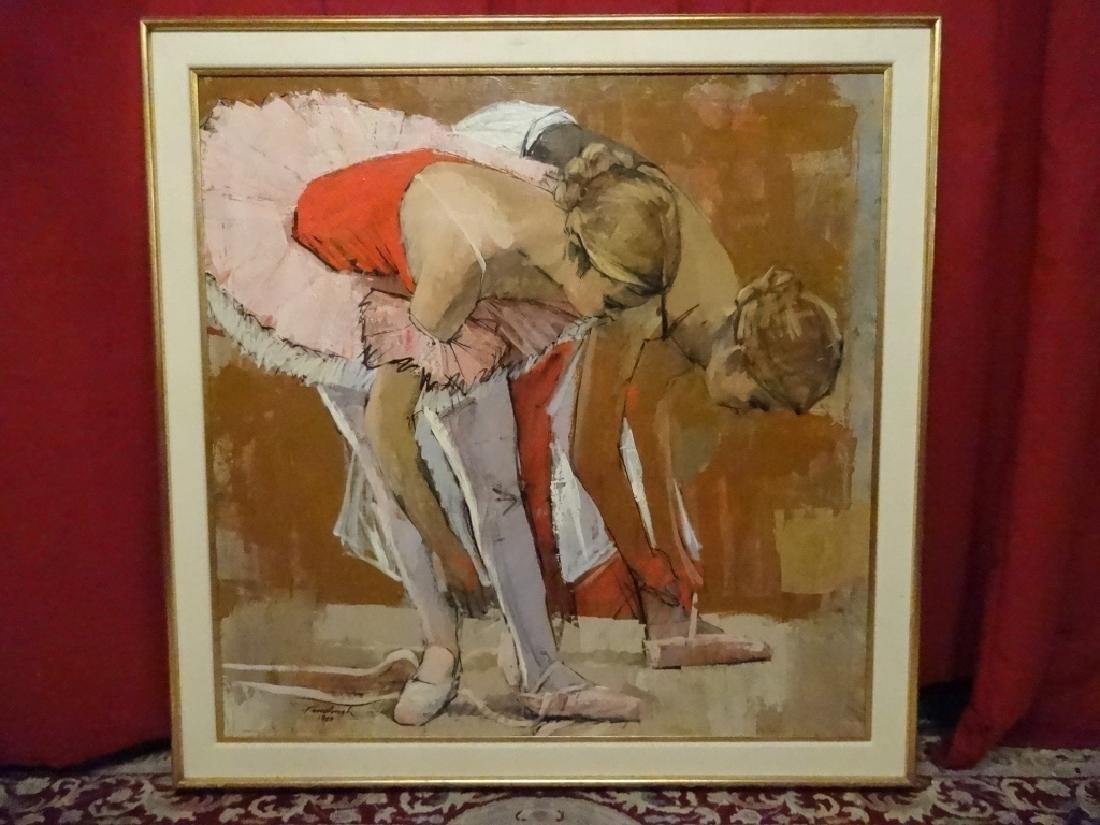 GERALD FAIRCLOUGH (1946-) PAINTING, 2 BALLET DANCERS,