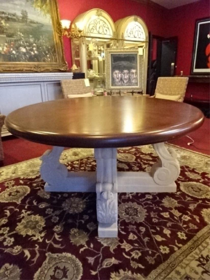 LARGE WOOD AND CAST STONE CENTER TABLE, ACANTHUS LEAF