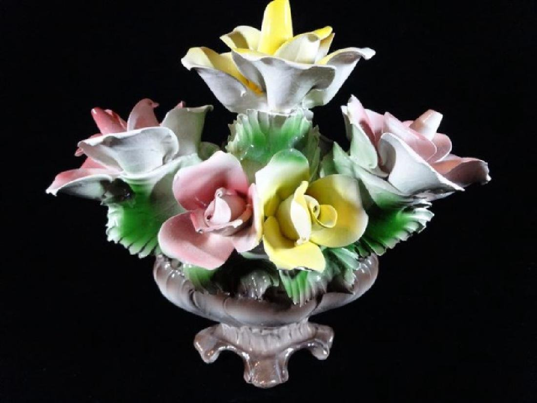 CAPODIMONTE ITALIAN PORCELAIN FLOWERS IN OVAL FOOTED