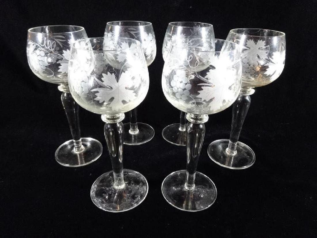 6 CRYSTAL WINE GLASSES, ETCHED FROSTED FOLIATE DESIGNS,